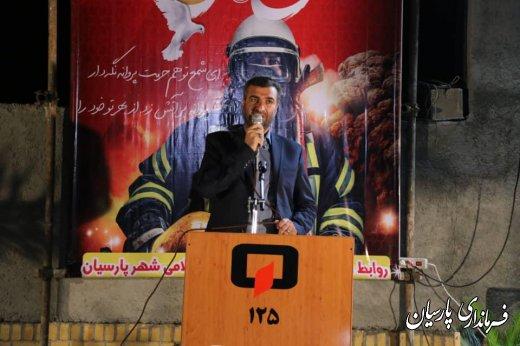 مراسم روز آتش نشانی و ایمنی با حضور دکتر میرزاد فرماندار پارسیان