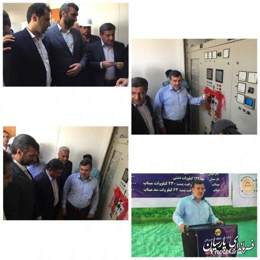 افتتاح خط 132 و پست موقت برق دشتی با اعتباری بالغ بر 350میلیارد ریال توسط دکتر همتی استاندار