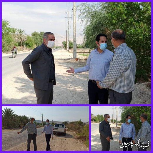 فرماندار پارسیان از محل اجرایی پروژه تعریض محور شهر دشتی  به مرکز شهرستان پارسیان و چگونگی پیشرفت آن بازدید نمود